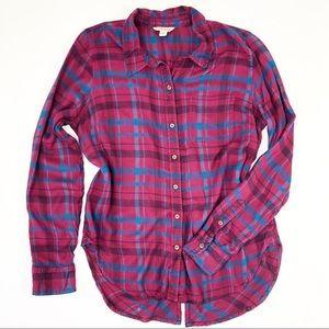 Lucky Brand   Purple Blue Light Weight Flannel